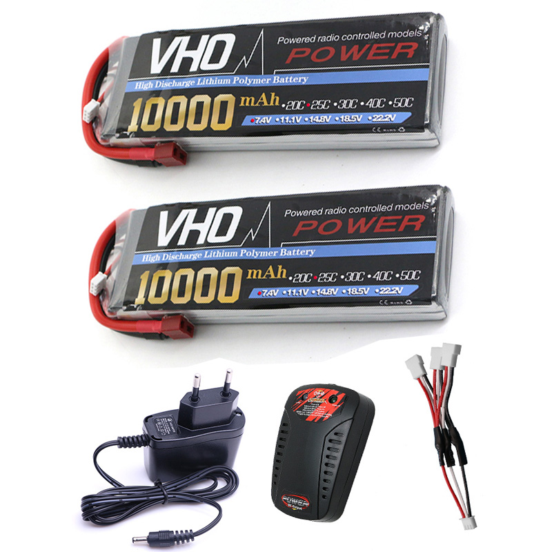 VHO 2pcs drone Lipo battery pack 7.4v 12000mAh 25C 2S and EU charger for rc airplane Aerial multi - axis unmanned aerial vehicle lipo battery 7 4v 2700mah 10c 5pcs batteies with cable for charger hubsan h501s h501c x4 rc quadcopter airplane drone spare
