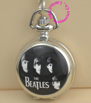 Good quality classic black white figure the beatles pocket watch vintage necklace antique women girl children.jpg 350x350