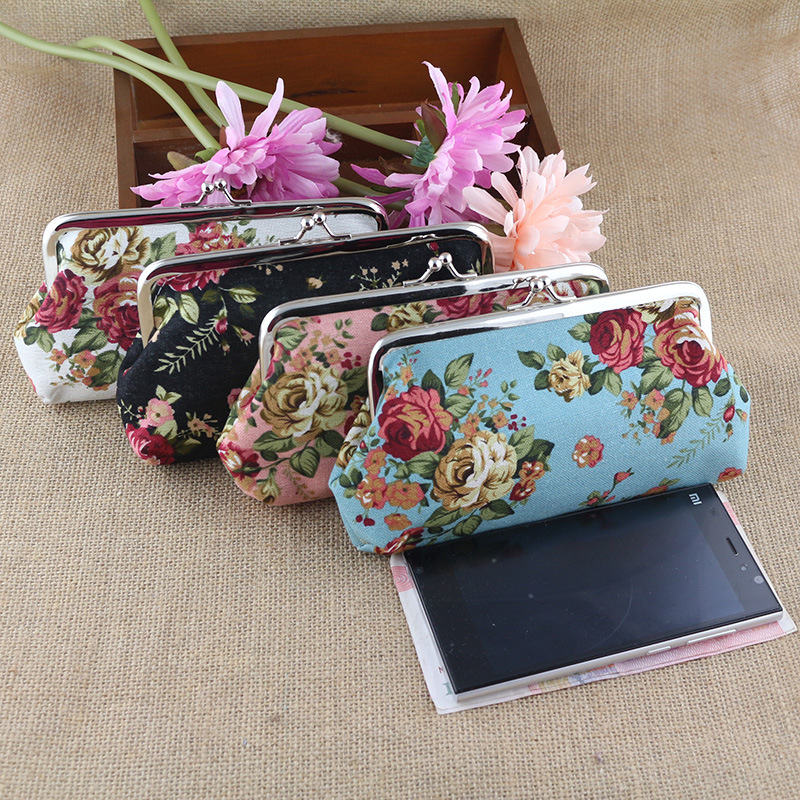 Ethnic Large Rose Canvas Long Zero Wallet Vintage Hand Carry Cell Phone Bag Fashion Elegant Women Coin Purse 2017 New Coin Pouch double layer zipper wallet coin purse cell phone storage pouch bag w hand strap deep pink page 6