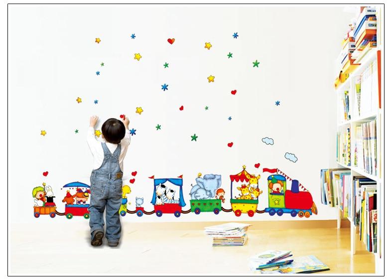 Gratis Pengiriman Hewan Sirkus Kereta Anak DIY Removable Wall Stiker - Dekorasi rumah - Foto 3
