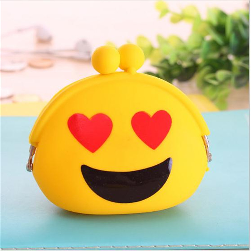 2016 New Emoji Coin Purse Silicone Wallet Change Bag Female Women Mini Key Case Kids Children Silica Gel Purses Pouch Gift 2015 new arrival kids rabbit animal pattern wallet children baby purse women girl coin bag key pouch for birthday gift