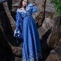 2017 Весной Белые Кружева Вышивки Платья Новые Sexy V-образным Вырезом Старинные Фонарь Рукав Принцесса Стиль Длинные Dress Пят wj128