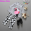 Malayu Baby  2016 children's girls baby clothes Little Cow modeling clothes 100%cotton long-sleeved T-shirt+Pants suit