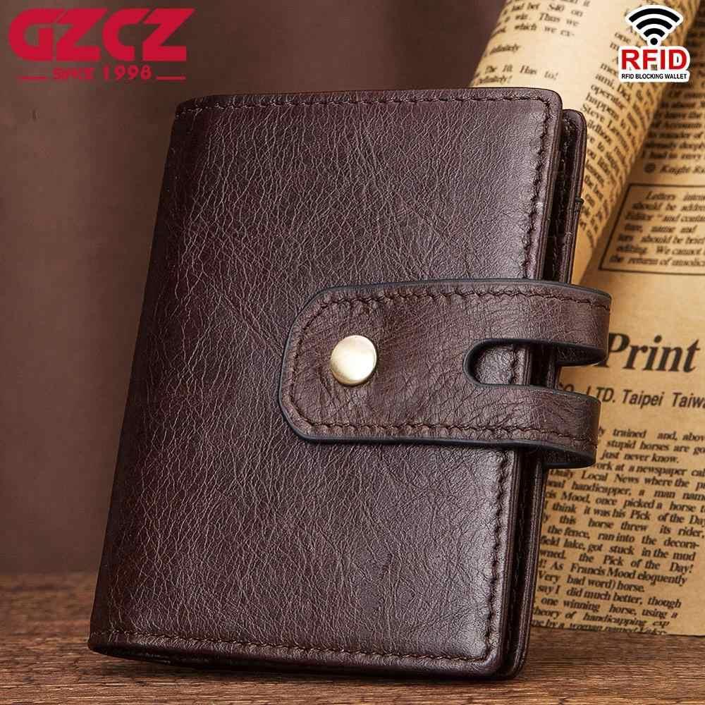 GZCZ คุณภาพสูงของแท้หนังกระเป๋าสตางค์ Rfid สำหรับผู้ชายและผู้หญิงกระเป๋าสตางค์ ID ผู้ถือบัตร 28 Bits กระเป๋าสตางค์ขนาดเล็ก billetera hombre ใหม่