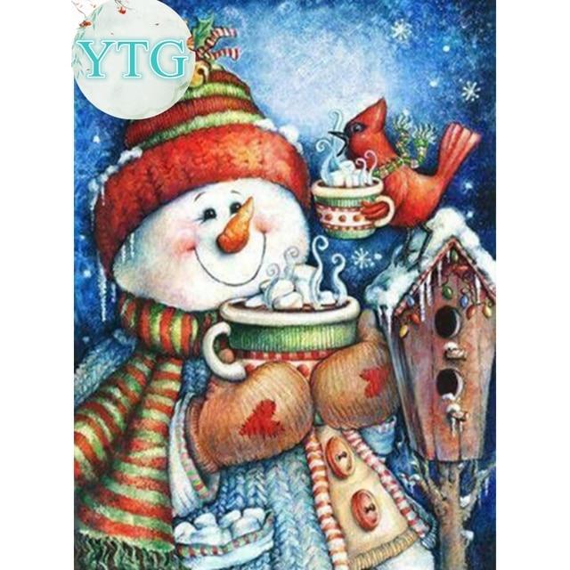 Снеговик, Алмазный живопись, полный, Алмазный Вышивка, 5D, вышивка крестом, мозаика, Круглые, горный хрусталь, DIY, дома, украшения, Новогодние товары, подарок, YTG