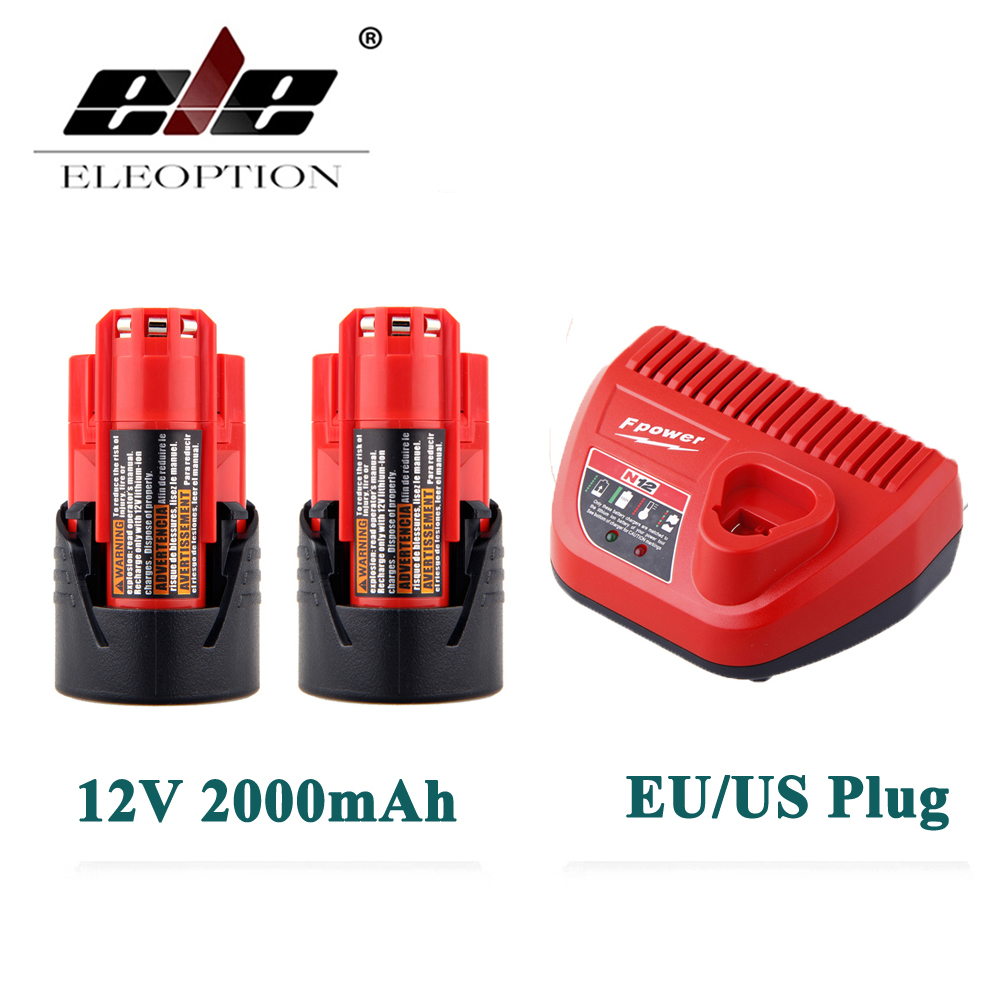 ELEOPTION 2PCS 12V 2000mAh Li-ion Rechargeable Power Tool Battery For Milwaukee M12 48-11-2401 2510-20 48-59-1812+ Charger 3pcs 12v lithium ion 1500mah power tool rechargeable battery with charger replacement for milwaukee m12 48 11 2401 48 11 2402 page 5