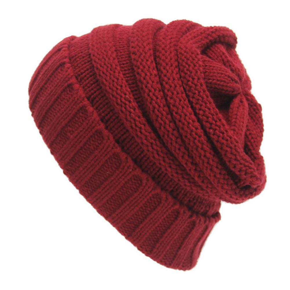 Men Women Knitting Autumn Winter Outdoor Solid Color Beanie Warm Cap