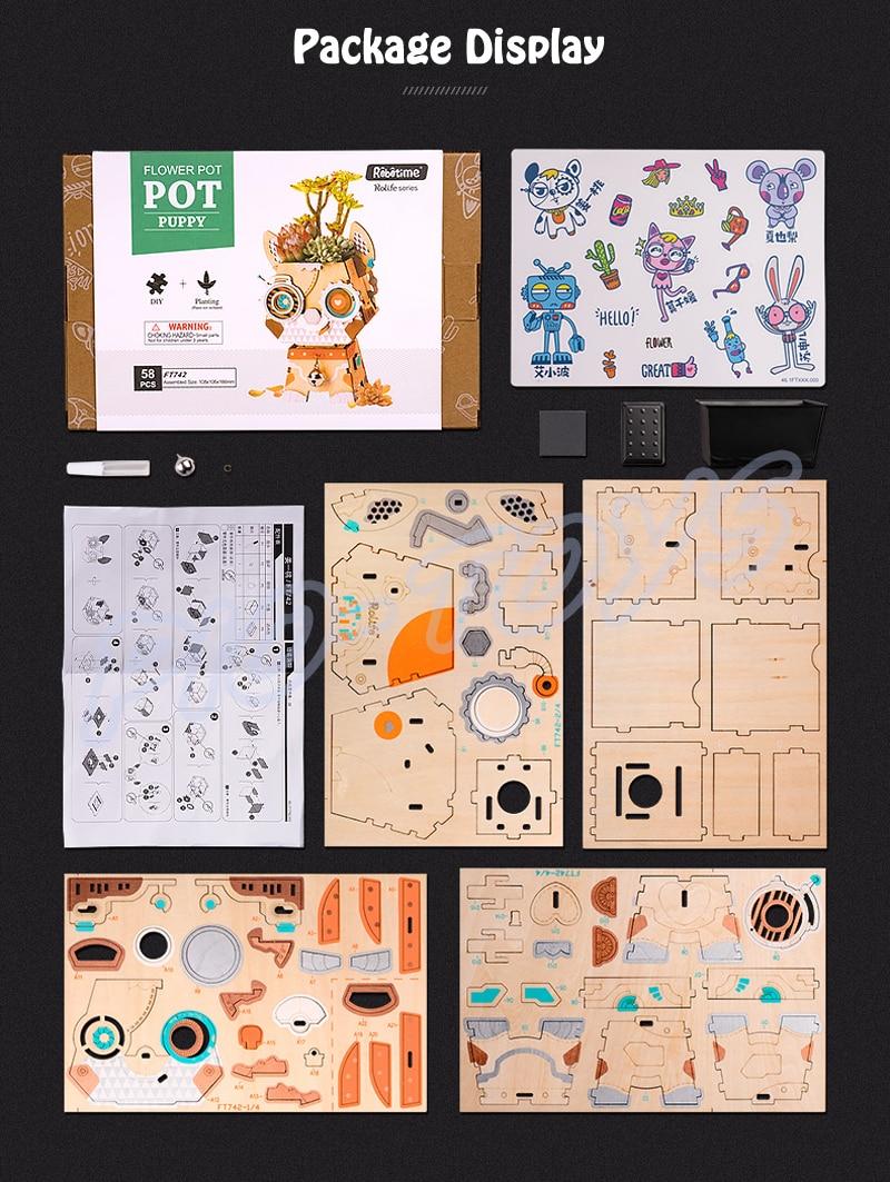 Новая идея подарка мультяшный горшок серии 3D паззлы деревянные DIY головоломки дизайн замочки украшение комнаты милый подарок обучающий инструмент