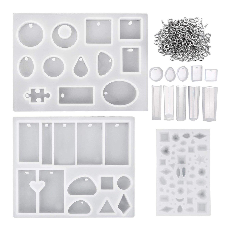 13 stück Verschiedene Designs Harz Gussformen Silikon Schmuck Machen Formen Set mit 100 Stück Mini Schraube Auge Pins für jewel