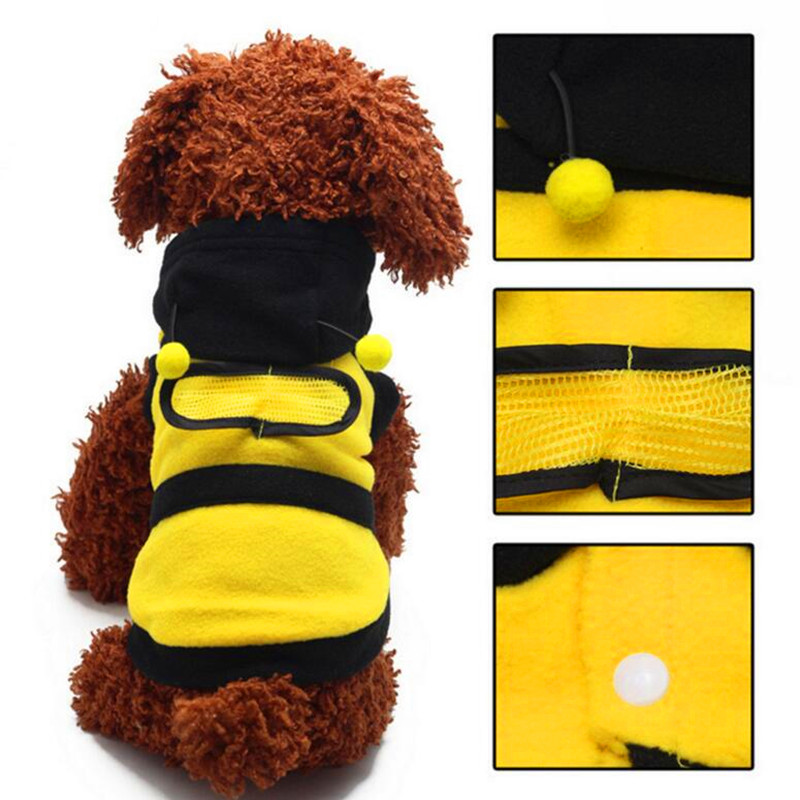 Dogs clothes Cute Fleece Bumble Bee Lovely Wings Dog Cat