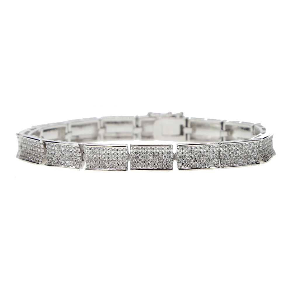 silver color micro pave clear cubic zirconia bling bling mens jewelry iced out cool boy gift hiphop jewelry chain bracelet cz