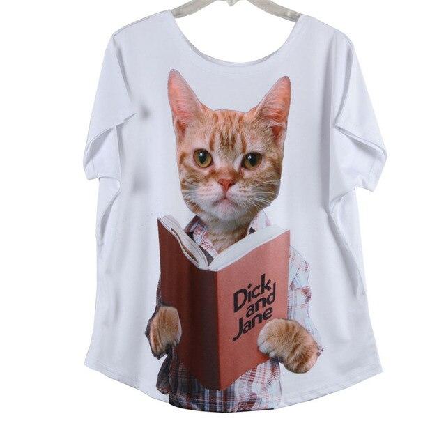 a064799ea Personalized Cat Logo Printing Batwing Sleeve Animal Celebrity Fashion  Women T Shirts Stylish Charming Loose Short Sleeve