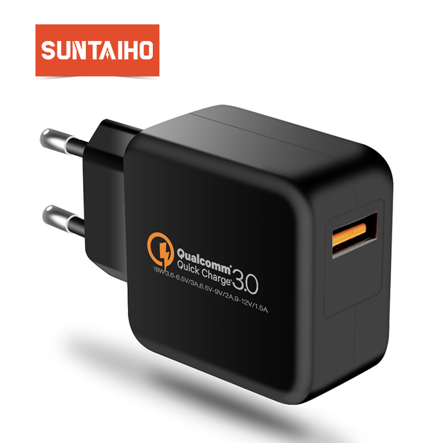 Suntaiho USB Charger Qualcomm Quick Charge 3.0 Fast Charger 18W Travel Wall Charger Adapter for Xiaomi mi9 huawei iPhone Samsung