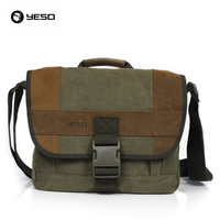 YESO Vintage Style Fashion Good Quality Canvas And PU Patchwork Mens Messenger Bag Casual Stylish Business