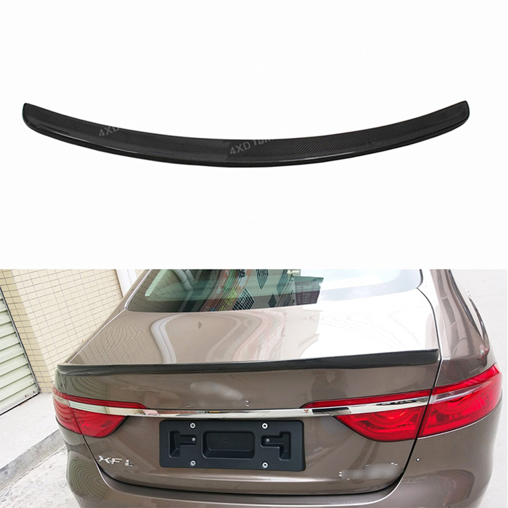 for Jaguar XF X260 Carbon Rear spoiler XF X260 Carbon Fiber Rear Spoiler Rear Trunk Wing car styling sticker 2016 2017 - UP car styling carbon fiber auto rear wing spoiler lip for vw scirocco 2010 2012