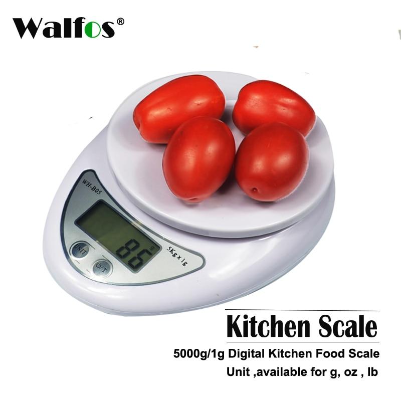 WALFOS augstas kvalitātes 5kg / 1g digitālās virtuves pārtikas uztura pasta skalas elektroniskā svara svari Bilances svērums Elektroniskais