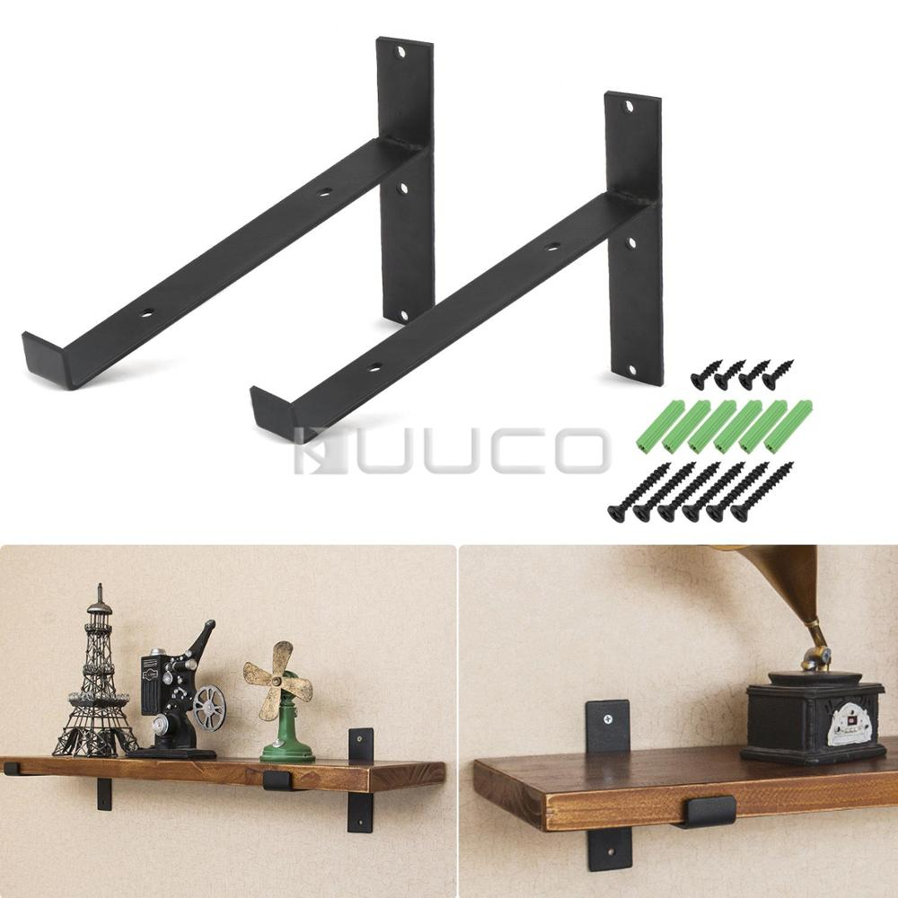 2 PCS/LOT Metal Bracket/black iron Wall Mounted shelf Brackets/furniture accessories for study/kitchen/bedroom/bathroom/bar etc 1pair 2 pcs lot black wall mounted shelf bracket brackets support with screws round tube