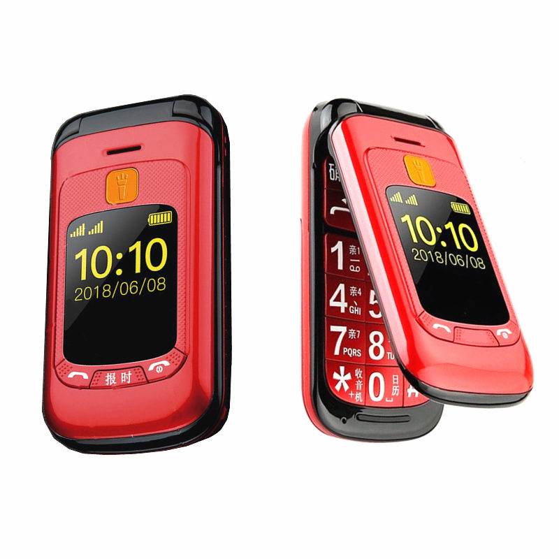 Senior Flip Cellphone Double Dual Screen Phone Dual SIM Speed Dial SOS Key  Touch Handwriting Russian Keyboard FM For Old People