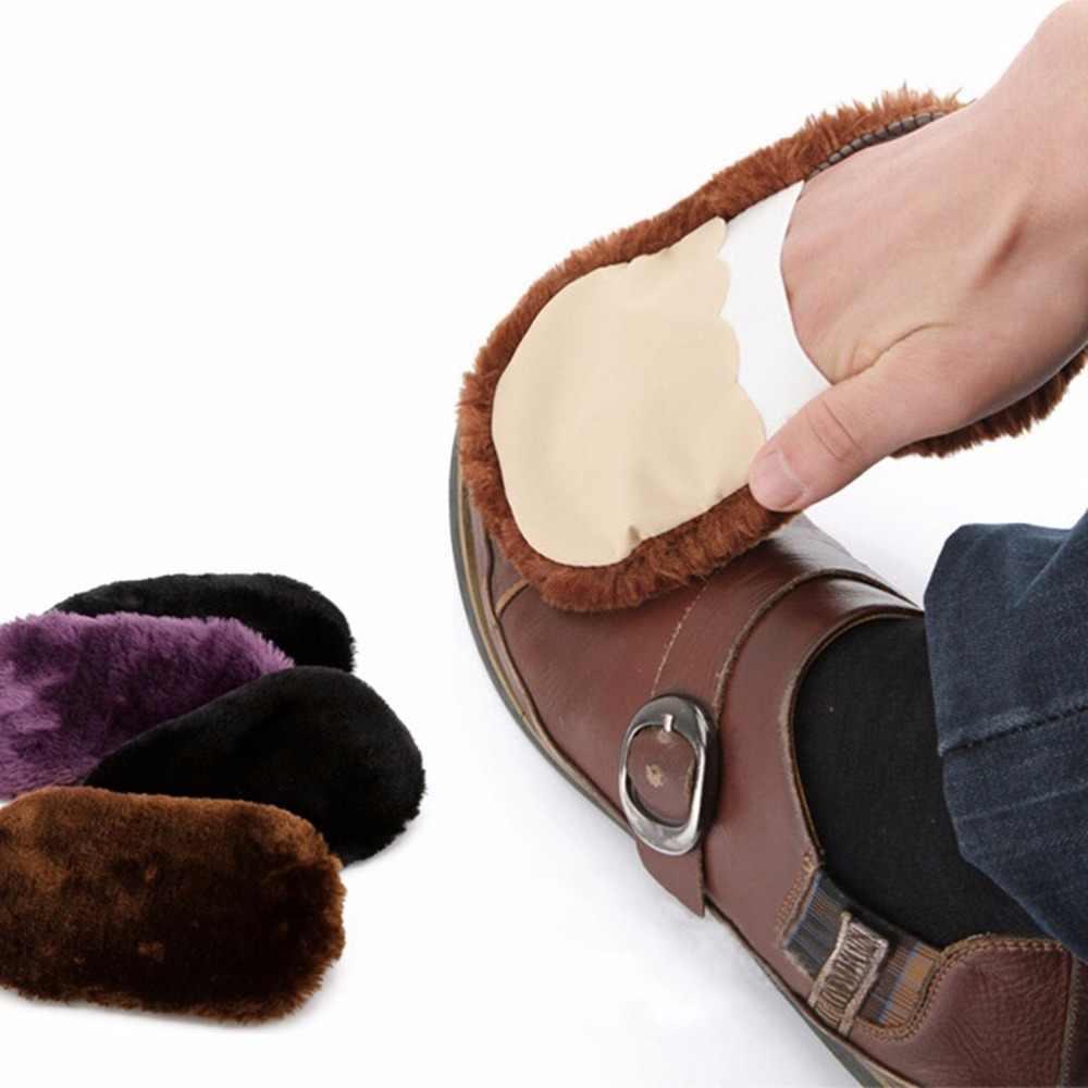 1 Pc Lã Macia escova de sapato portátil usado em todos os tipos de artigos de couro Limpar Sapatos de Polimento de Sapatos Escova Luva cor Aleatória