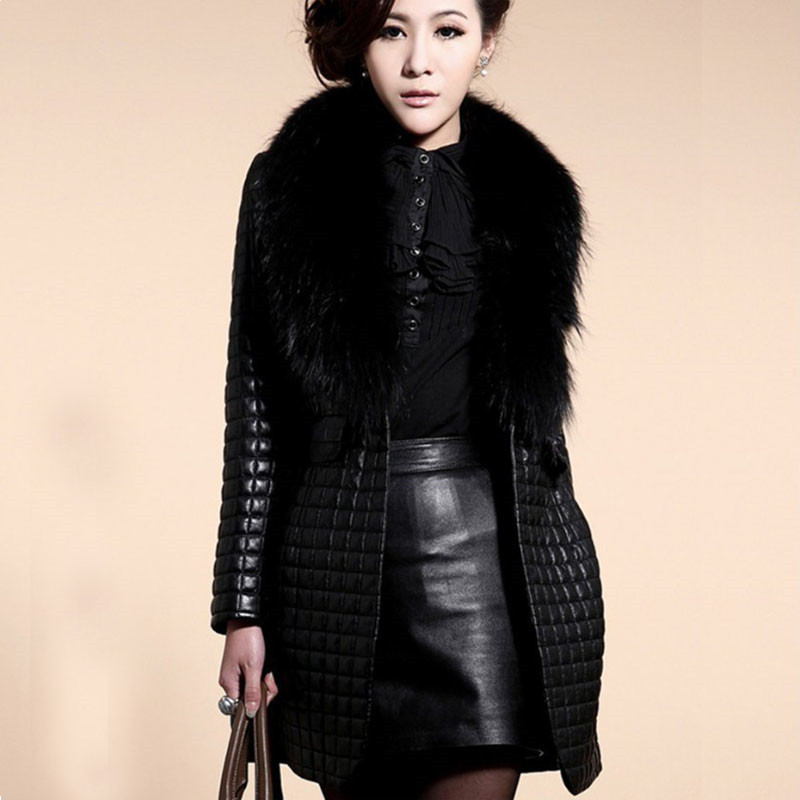 Aliexpress.com : Buy Womens Fur Coats Patchwork Leather Fur Collar ...