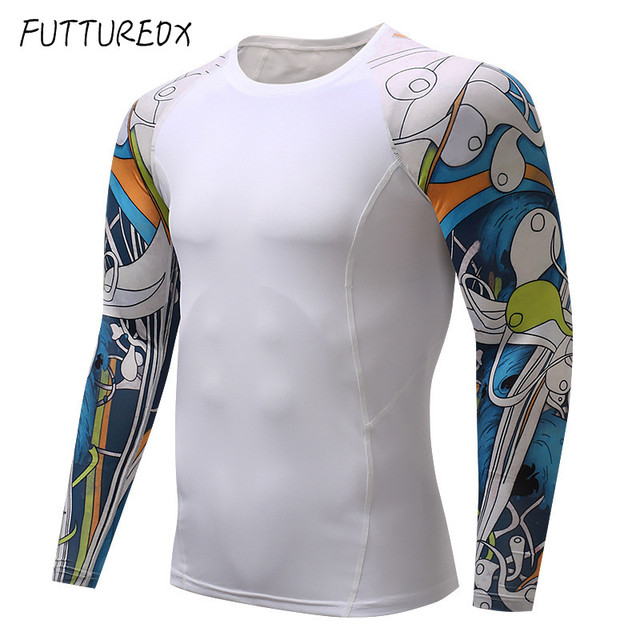 Mens Fitness 3D Print Long Sleeve Cycling Base Layers Men Skin Tight  Thermal Jerseys Compression Shirts MMA Workout Base Layers 880b23c7f