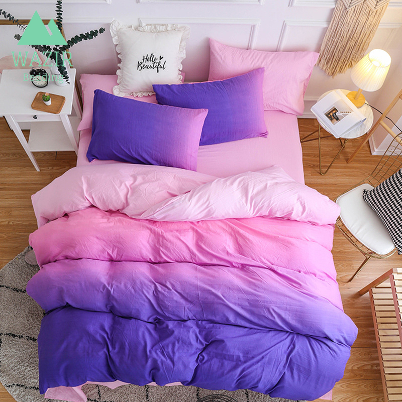 Pure color washed cotton Simple style bedding set Duvet Cover Pillowcase Sheet Linen Twin Full Queen
