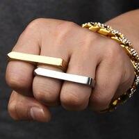 NYUK 반지 뜨거운 판매 두 손가락 더블 링 로즈 골드 스틸 미니
