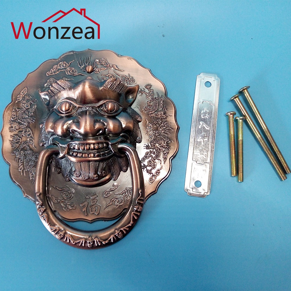 Chinese Red Copper Door Handles Vintage Lion Head Cabinet Knobs and Handles Furniture Knobs Drawer Pulls 175mm unicorn beast