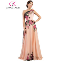 7504 Free Shipping Pretty Sexy Brand New Fashion One Shoulder Long Printed Evening Dress Flower Party