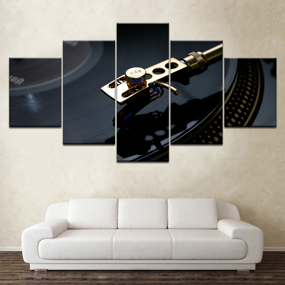 Vinyl Records Vintage 5 Piece Wall Artwork Wallpapers Modern