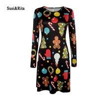 Susi Rita S 5XL Autumn Winter Dress Women Long Sleeve Christmas Print Dress 2017 Casual Dresses