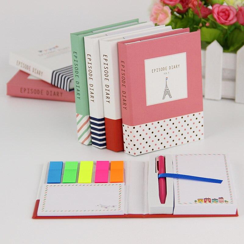 1 Stück Kreative Hardcover Notepad Sticky Notes Kawaii Schreibwaren Tagebuch Notebook Und Stift Büro Schule Liefert