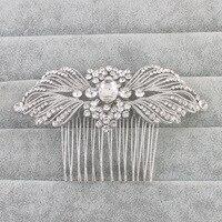 Wedding Hair Accessories Women Bridal Rhinestone Hair Comb Crystal Flower Bijoux De Tete Brides Head Jewelry