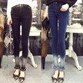 Gradiente de Lavado Con Agua 2016 Verano Alta Cintura Delgada Jeans Mujeres Flacas Pantalones Lápiz Pequeños Pies Pantalones Pantalón de Mezclilla Femenina