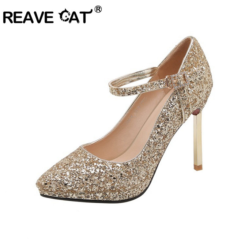 REAVE CAT Women Wedding Shoes Sequined Cloth Glitter Party Pumps Stiletto Heels Sexy High Heel Gold Silver Big Size 43