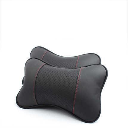 2 pcs katun asli kulit leher mobil headrest bantal mobil-styling untuk honda bmw audi vw mercedes toyota mobil meliputi bantal
