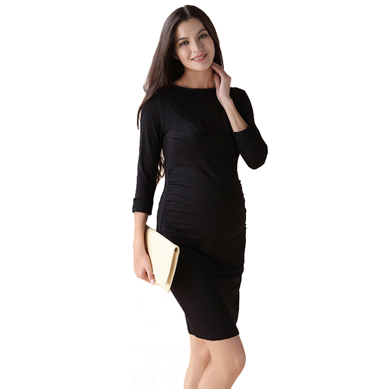 Black Pregnant Women Lycra Maternity Dress Knee Length Business Vestidos for Working Mommy Autumn Pregnancy Clothes недорго, оригинальная цена