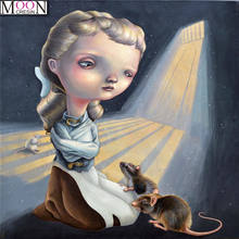 MOONCRESIN DIY Diamond Embroidery Girl & Mouses Diamond Painting Cross Stitch Full Square Rhinestones Mosaic Decoration Cartoon mooncresin diy diamond painting cross stitch cartoon monkey diamond mosaic full round