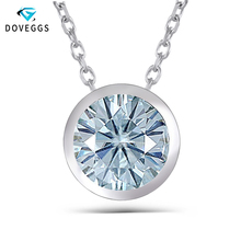 DovEggs 3CT 9mm Moissanite  Sterling Solid 925 Silver Pendant Necklace Bezel Setting for Women