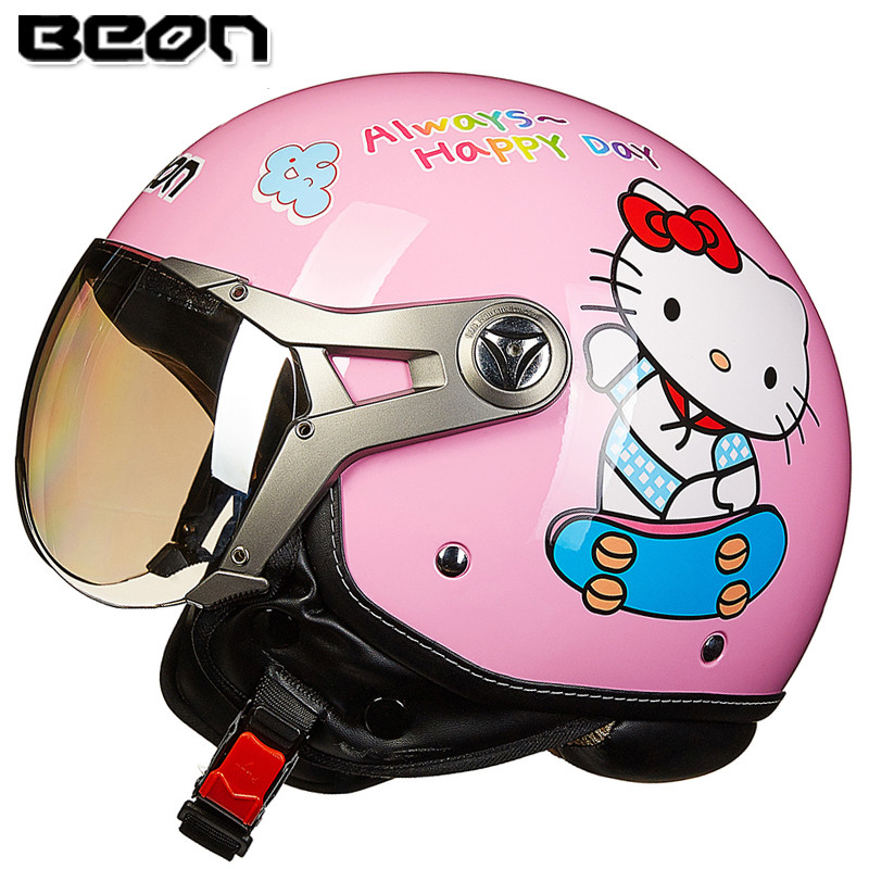 New arrival Womens motorcycle helmet Beon vintage helmet Hello kitty scooter half helmet ECE approved moto casco