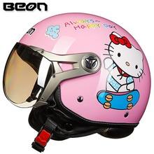 Новых женщин прибытия мотоциклетный шлем Beon шлем винтаж Hello kitty скутер половина шлем ECE approved moto каско