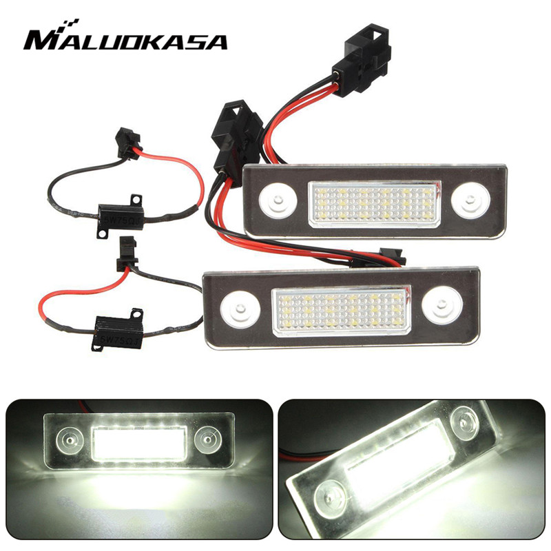 MALUOKASA 2X Car White Canbus Error Free LED License Plate Light for Skoda Octavia Roomster 5J Auto Warning Lamp 2x canbus no error led number plate license light for chevrolet cruze camaro car styling auto accessory