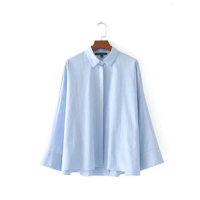 2a7bcb6c61 VOGUEIN New Womens Light Blue Pearl Decoration Long Sleeve Button Down  Shirt Blouse Tops Size SML Wholesale