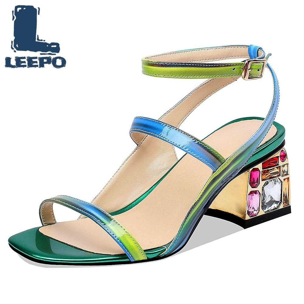 LEEPO Shoes Woman Ankle Strap Sandals Summer Luxury Designer Strappy Pumps Women Green High Heels Ladies