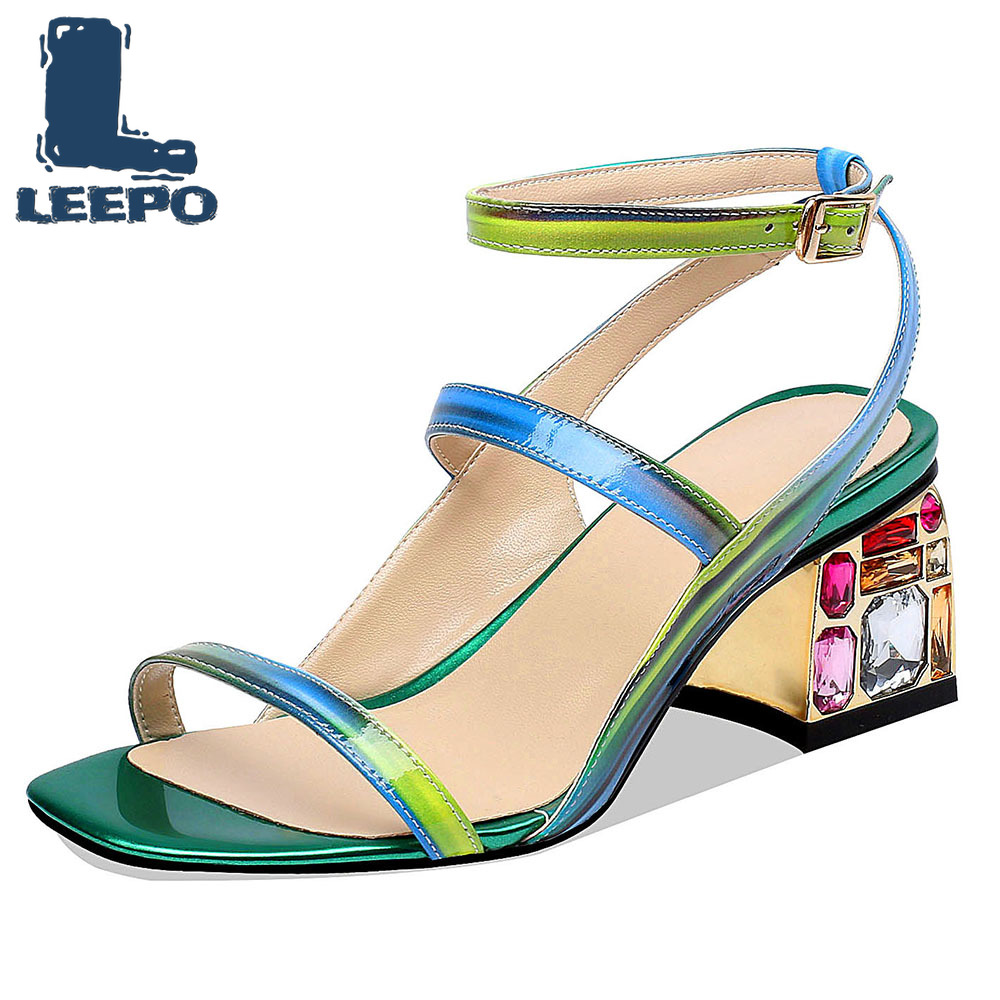 LEEPO Shoes Woman Ankle Strap Sandals Summer Luxury Designer Strappy Pumps Women Green High Heels Ladies Red Painted Heels 6.5cmLEEPO Shoes Woman Ankle Strap Sandals Summer Luxury Designer Strappy Pumps Women Green High Heels Ladies Red Painted Heels 6.5cm