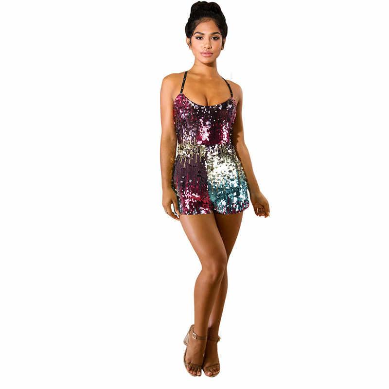 Женский костюмчик без рукавов с блестками, сексуальный ремешок на молнии сзади, блестящие Элегантные короткие детские комбинезоны, комбинезоны, вечерние Блестящий Комбинезон