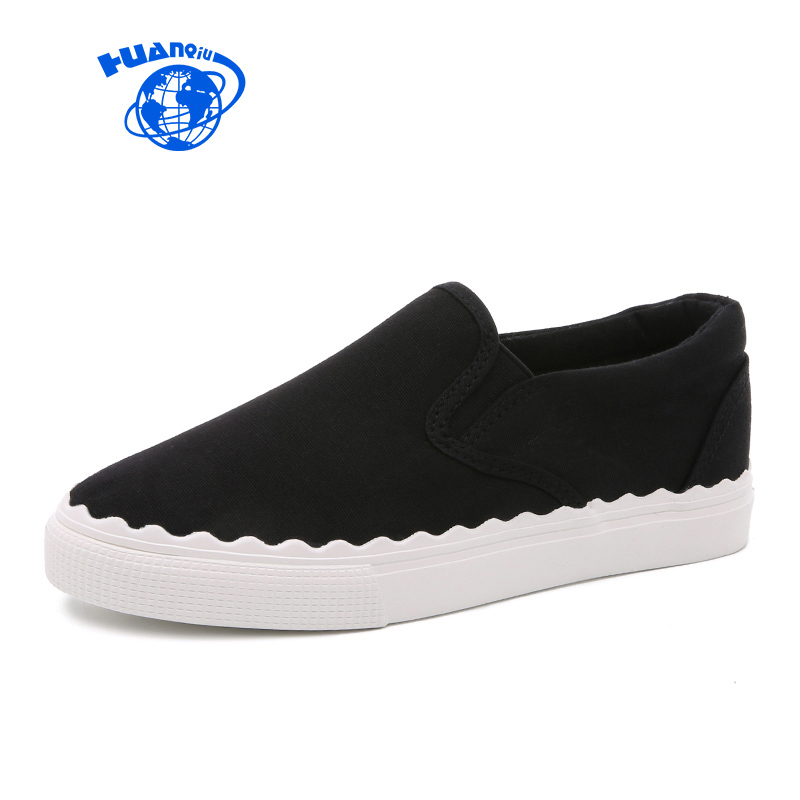 HUANQIU Women Canvas Shoes 2017 New Famous Brand Girl Students Casual Shoes Flat Heel Cloth Shoes High Quality White Black Shoes huanqiu white women vulcanize canvas shoes low breathable female solid color flat shoes casual candy colors leisure cloth shoes