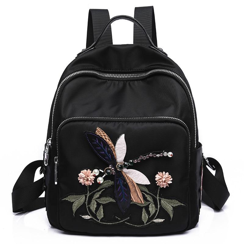 2018 National Style Women Backpacks Rose Flower Embroidery Shoulder Bags Female Handmade Diamond Oxford Leisure Travel Backpacks