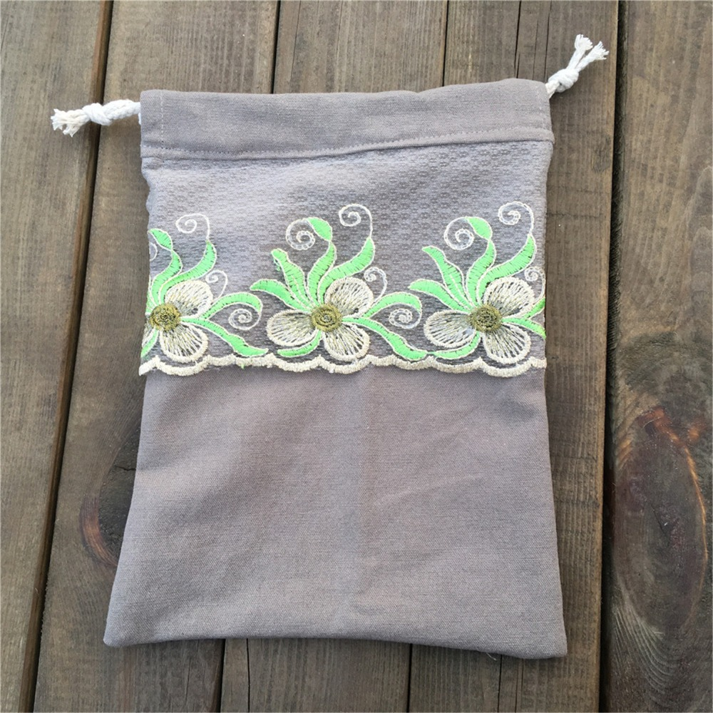 YILE 1pc Grey Canvas Drawstring Pouch Party Gift Bag Embroidery Lace Trim YL812e
