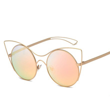 2017 Retro Round Cat Eye Sunglasses Women Brand Hollow Vintage Cat Eye Round Mirror Sun Glasses UV400 female oculos de sol SALE